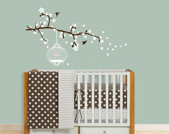 Blossom Branch with Birdcage, Blowing blossom decal, Branch decal, Bird decal