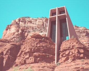 Chapel of the Holy Cross Photo Print: Sedona, Photography, Church, Red Rock, Arizona, 4x6, 5x7, 8x10, Snapshot, Polaroid