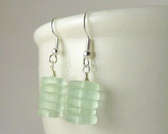 Sea foam sea glass earrings stacked earrings dangle earrings handmade jewelry coke sea glass jewelry beach glass gift for mother friend
