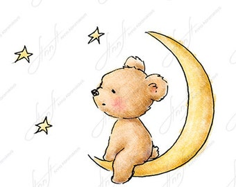 The Drawing Of Cute Teddy Bear Sitt Ing On Moon And Watching