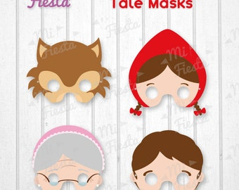 Little Red Riding Hood tale, Wolf , Grandma and woodcutter Mask Printable for birthdays, Instant Digital Download