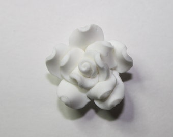 Flower White Polymer Clay Flower  With Hole - 20mm - 18ct