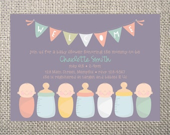PRINTED or DIGITAL Babies Bottles Baby Shower Invitations 5x7 Customized BIrd Baby Design 0.82 each
