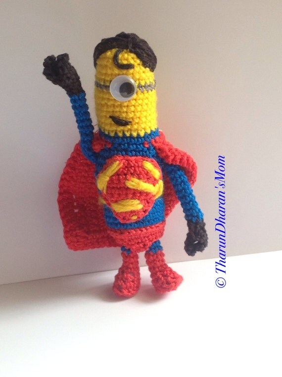 Amigurumi Minion Etsy : Amigurumi Pattern Superman Minion Despicable Me pdf pattern