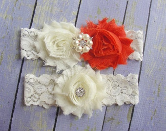 Orange Garters, Ivory Lace Garters, Wedding Garter Set, Bridal Garter, Keepsake Garter and Toss, Burnt Orange, Country Wedding
