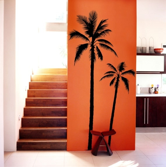 set of 2 palm tree vinyl decal wall art wall by funnyandsticky. Black Bedroom Furniture Sets. Home Design Ideas
