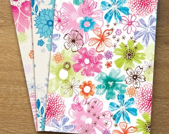 Vintage Floral Set of 3 Illustrated Watercolour A5 notebooks