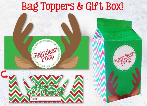 REINDEER POOP Bag Topper / Gift Box Template - Instant Download, Print ...