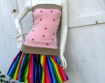 NYAN CAT PopTart Shirt and rainbow skirt  Set costume MeMe