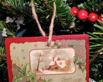 Vintage Christmas Postcard Ornament #003