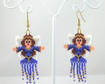 Beaded Purple Fairy Fringed Earrings