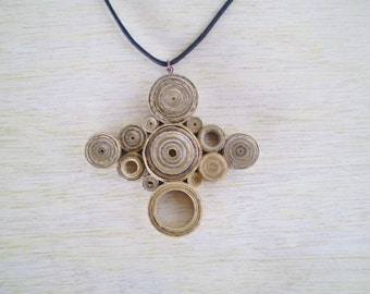Cross Necklace Vintage Newspaper Recycled Jewelry Paper Beads Pentand Eco-Friendly Ready to Ship /  Μενταγιόν από Vintage Εφημερίδες