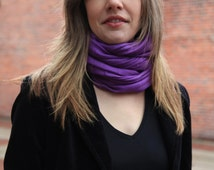 """Sale! Solid Color Scarf on Merino and Angora Blend -"""" Purple Pansy"""""""
