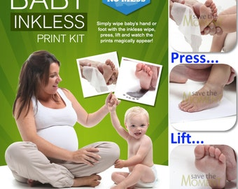 Inkless Hand and Foot Print Kit with 1 Large or 2 Standard Size Special Coated Papers and 1 Inkless Wipe