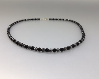 Hematite and Onyx necklace with Sterling silver - gift idea for holiday season