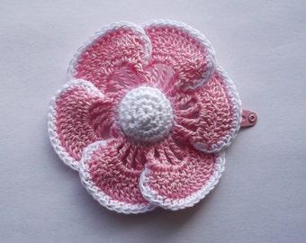 flower hair clip,daisy hair clip, pink flower, pink daisy, girls hair clip, girls hair.