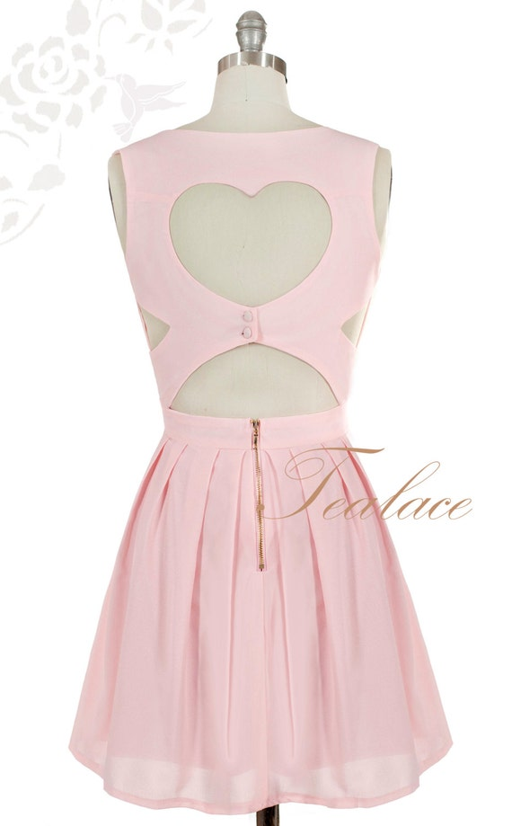 Pink Valentines Hearts 1950's Dress with Sexy Back Cutout