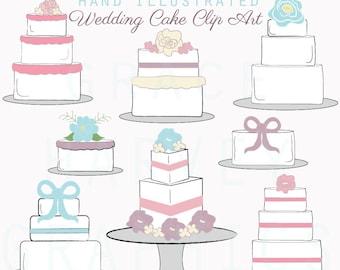 Wedding Cake Clip Art, Digital Illustrated Wedding Cakes, Instant Download PNG Wedding Clip Art, Weddings, DIY Wedding Clip Art, Wedding PNG