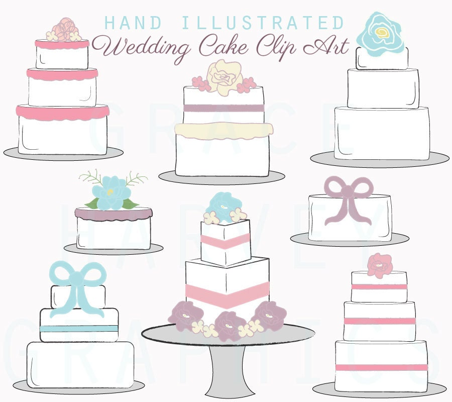 Wedding Cake Clip Art Digital Illustrated Wedding Cakes
