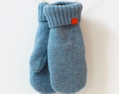 Blue Wool Mittens Made from Recycled Sweaters and Lined with Soft Fleece. Size: Medium