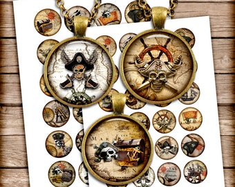Pirate Maps - Digital Collage Sheets 1 inch, 30mm, 35mm, 1.5 inch for Jewelry Making, Bottle cap - Instant Download