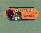 Vintage Original Aunty Brand Florida Citrus Crate Label. Dates to 1940. Great Item to Frame. Nice Craft Item. Scrapbooking, Black History
