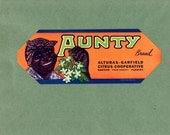Vintage Original Aunty Brand Florida Citrus Crate Label. Dates to 1940. Great Item to Frame. Nice Craft Item. Scrapbooking, Black History