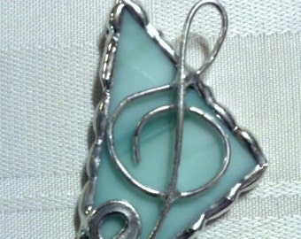 Stained Glass Music Pendant Necklace - Green