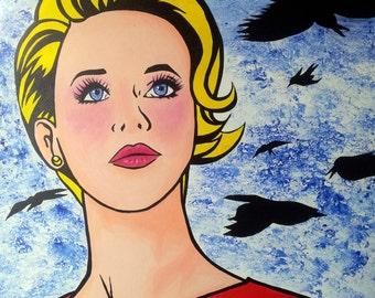 Girl comic acrylic on canvas. 80 x 60 cm. frame POP ART original and unique.