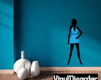 Fashion Girl Wall Decal - Wall Fabric - Vinyl Decal - Removable and Reusable - FahionGirlUScolor023ET