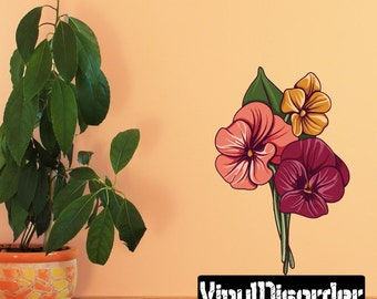 Floral Flower Wall Decal - Wall Fabric - Vinyl Decal - Removable and Reusable - FloralFlowerUScolor108ET