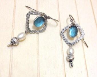 Pearl earrings ,  sterling silver  earrings , Blue topaz gemstone , Pearl , Square Hoop earrings , Textured silver , Pearl Jewelry