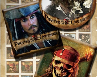 Pirates of the Caribbean  - 1 inch round and 1x1 images PrintableDownload Digital Collage Sheet  steampunk diy jewelry pendant  sticker