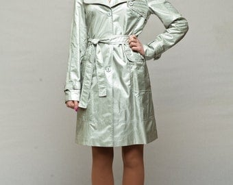 Silver trench coat / womens raincoat / spring jacket with belt and large external pockets / waterproof raincoat