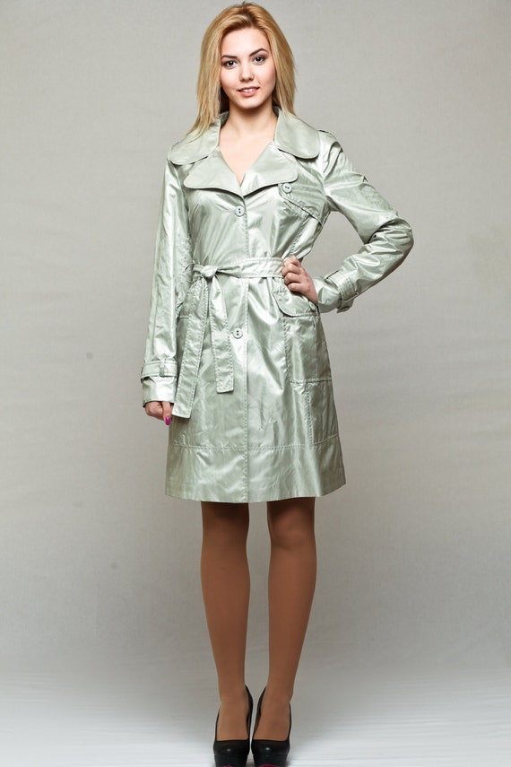 Silver trench coat / womens raincoat / spring jacket with belt