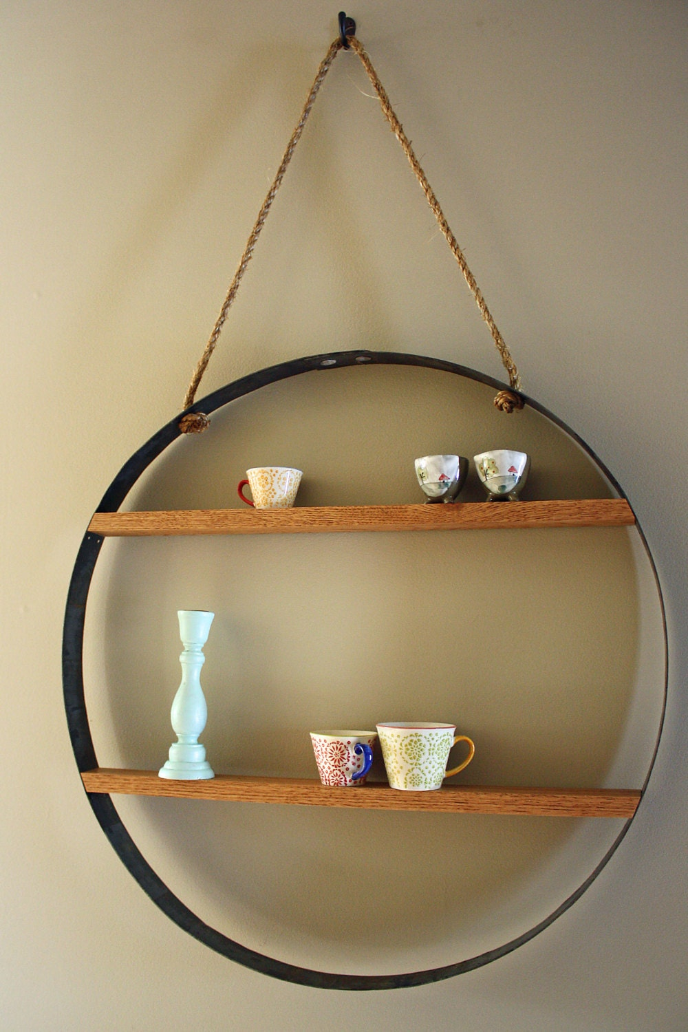 Whiskey Barrel Hoop Hanging Wall Shelf