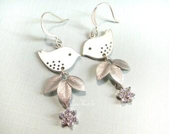Silver Bird Earrings Clear Rhinestone Leaf Flower Bird Earrings Sparrow Floral Leaves Dangles