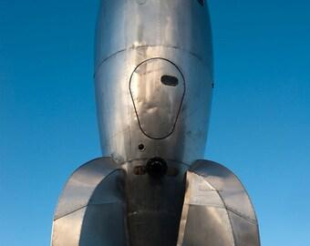 Rocket - sculpture, statue, sky, reflection, light, photography, wall art