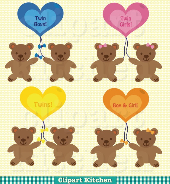 Baby Shower Twins Clip Art ~ Baby twins digital clipart set personal and commercial use