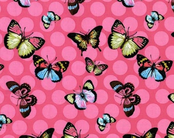 100% premium quilting cotton fabric by the yard, pink butterfly polka dot girl fabric by fabric designer Paula Prass for Michael Miller