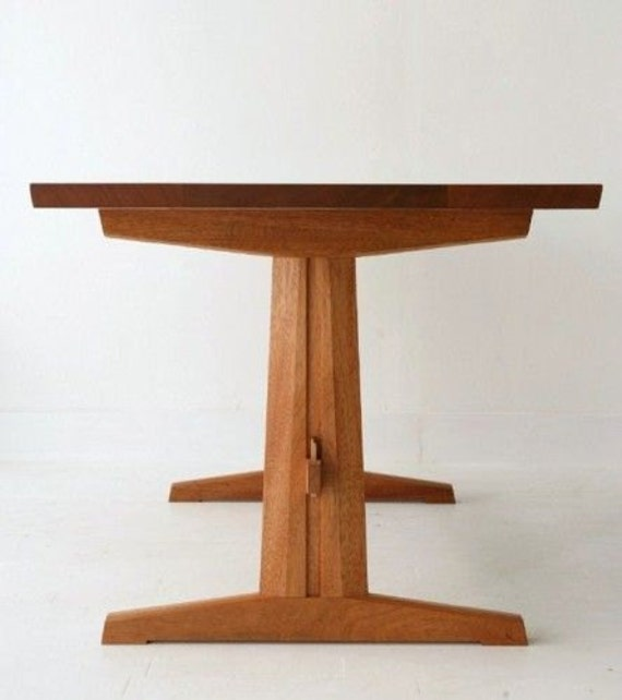 Trestle dining table solid mahogany for Pedestal trestle dining table plans