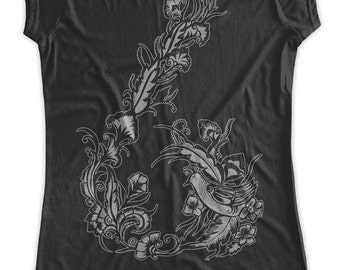 Henna flowers print  Maternity T-Shirt  Clothes Top - flowers around the belly  silver print - Made From Bamboo - SUPER SOFT & Stretchy