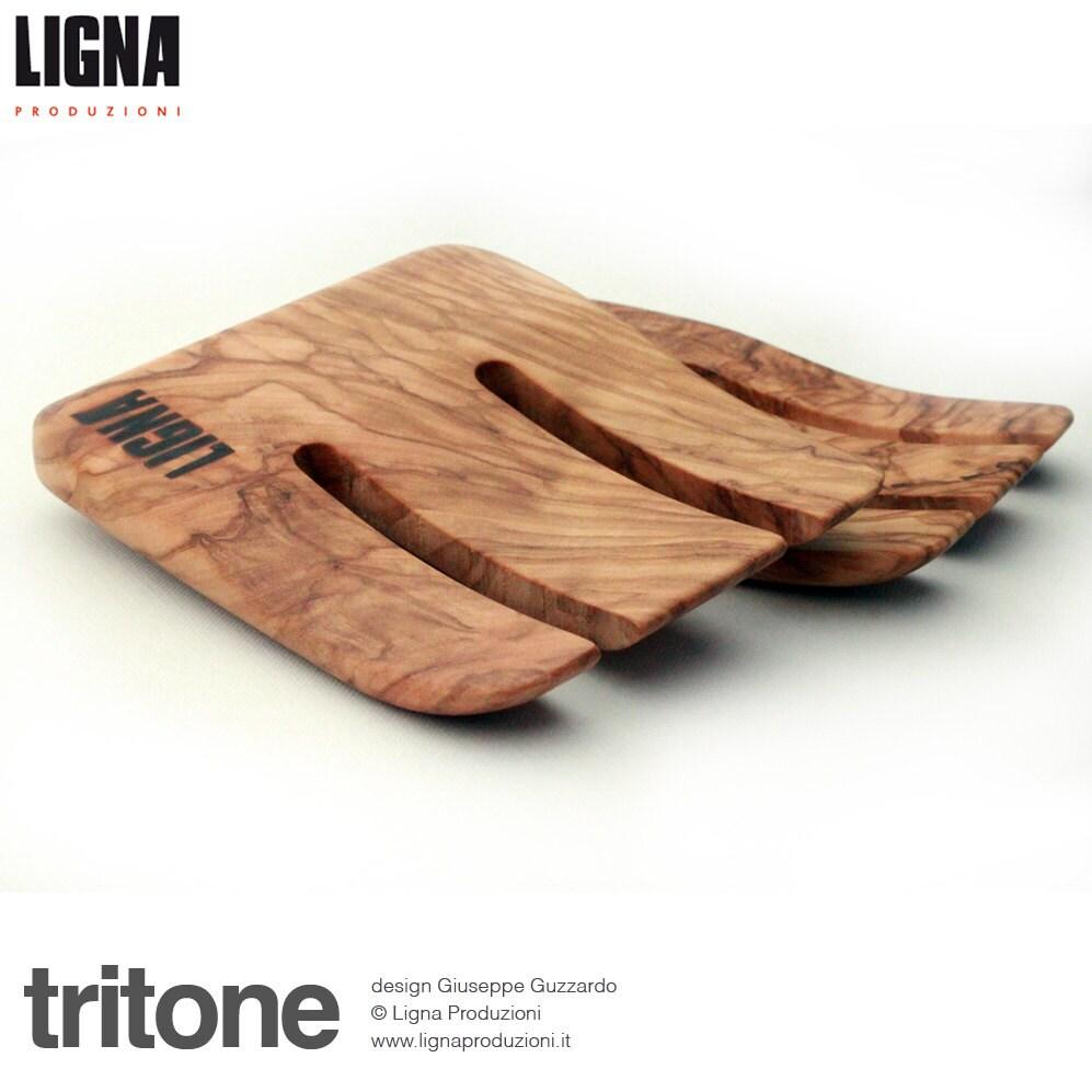 tritone coppia di utensili da cucina in legno di ulivo impregnati con olio di oliva