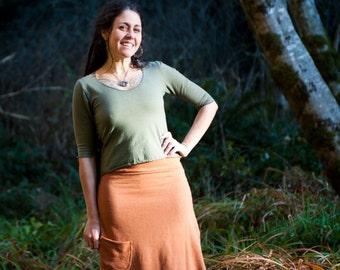 Organic Skirts - Organic cottn and Hemp skirt, Custom Made from Organic Cotton and Hemp terry (fleece weight) You choose hand dyed color