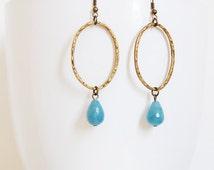 Delicate Boho Chic Angelite Brass Earrings, Serenity blue stone Oval Earrings, Calming Healing Jewelry, Gift for Her, Bohemian Earrings