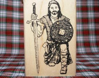 Ancient Scottish Highlander Kneeling Rubber Stamp SCA Costume #338