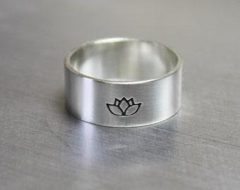 Lotus Ring, Yoga Jewelry, Silver