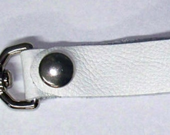 White Leather Key Fob Steampunk Harness Clip Chrome Snap by Darkwear Clothing