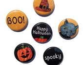 Halloween Magnets or Halloween Pins - 1 inch magnet set, pin set, pumpkin, black cat, boo, halloween accessories, decorations, party favors