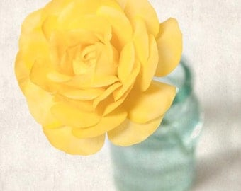 Flower Photo, Spring Flower Photography Print, Floral Art Print, Shabby Chic Art, Home Decor, Nature Wall Art, Yellow Ranunculus